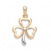 9ct Gold two colour shamrock pendant 1.2g